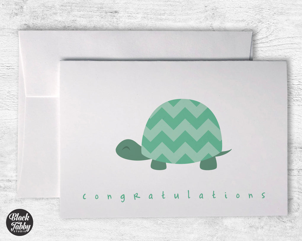 Green Chevron Turtle - Congrats Cards