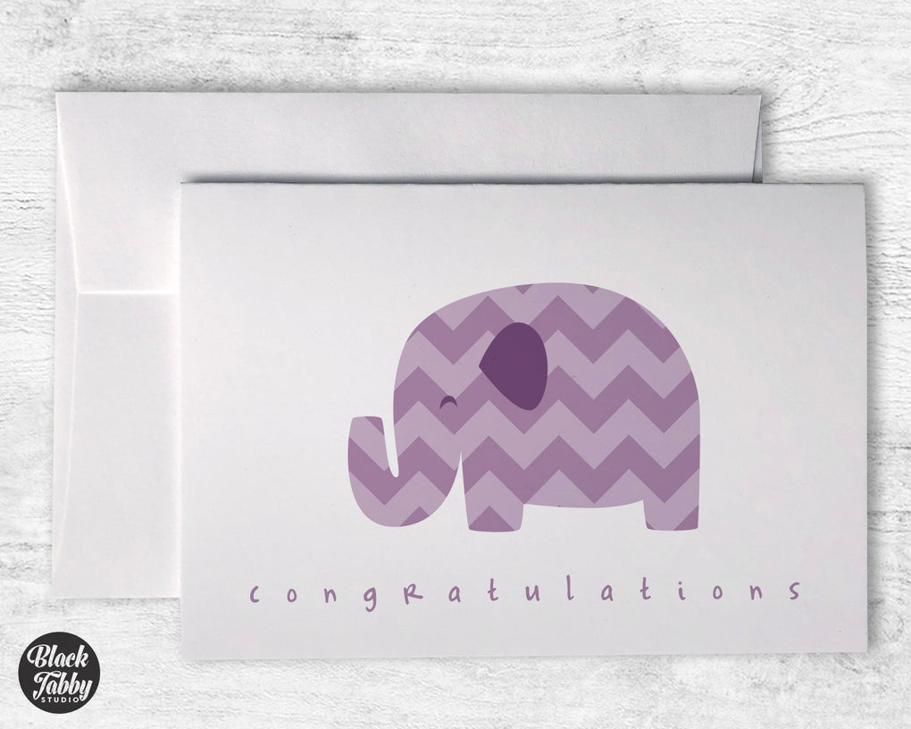 Purple Chevron Elephant - Congrats Cards