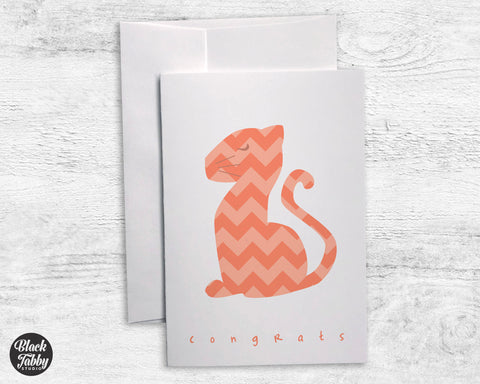 Orange Chevron Tiger - Congrats Cards