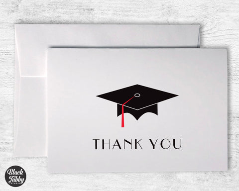 Graduation Cap with Red Tassel - Thank You Cards