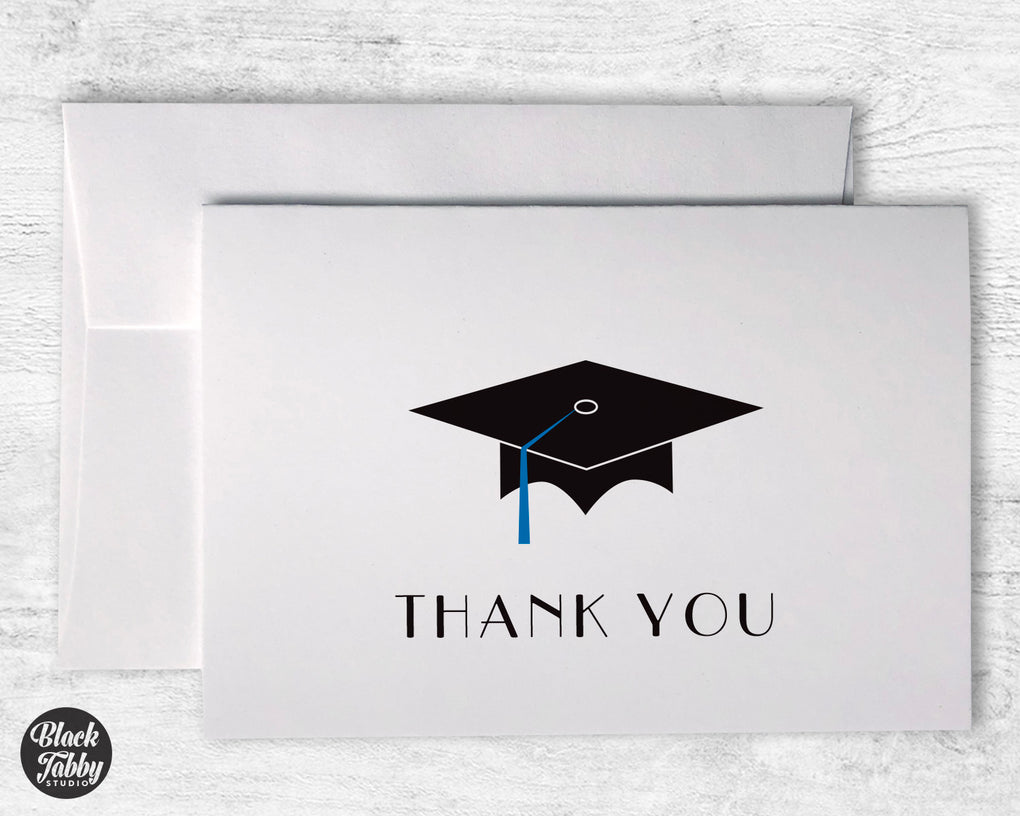Graduation Cap with Blue Tassel - Thank You Cards