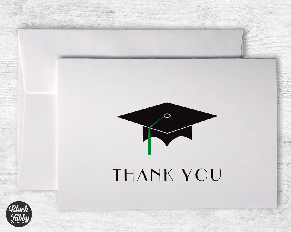 Graduation Cap with Green Tassel - Thank You Cards
