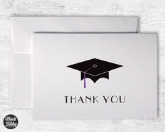 Graduation Cap with Purple Tassel - Thank You Cards
