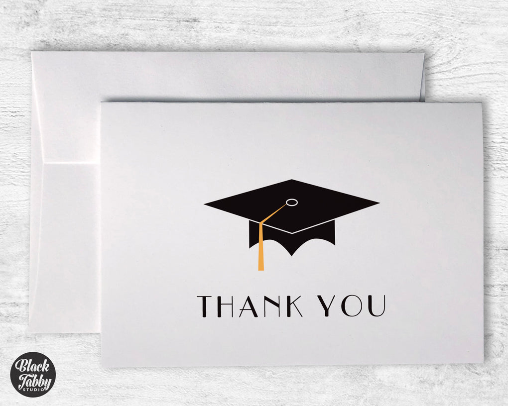 Graduation Cap with Gold Tassel - Thank You Cards