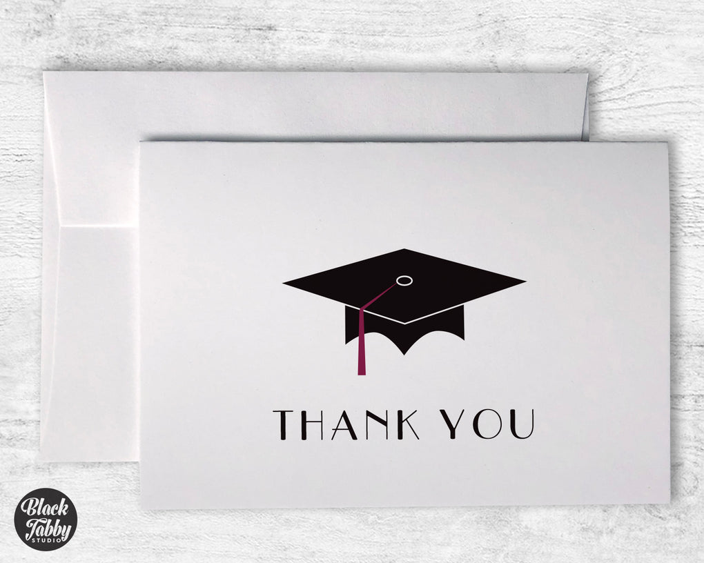 Graduation Cap with Maroon Tassel - Thank You Cards