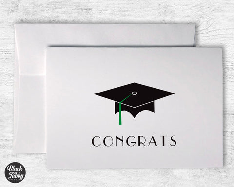 Graduation Cap with Green Tassel - Congrats Cards