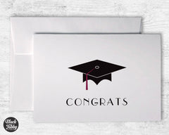 Graduation Cap with Maroon Tassel - Congrats Cards