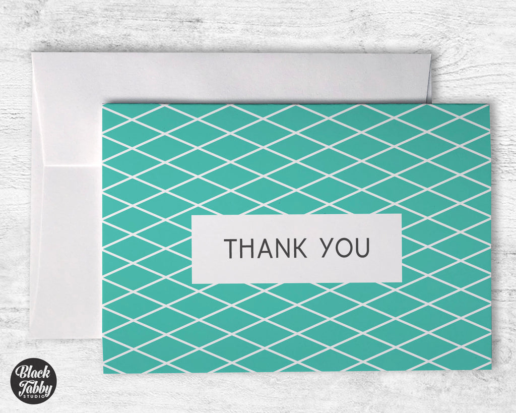Geometric Teal - Thank You Cards