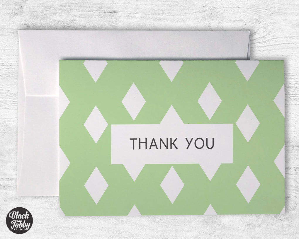 Geometric Green - Thank You Cards