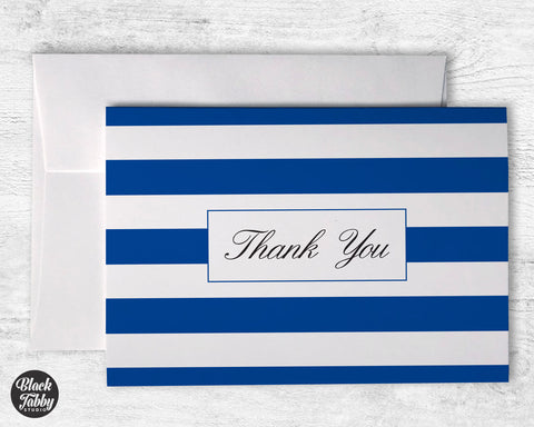 Classic Striped Navy Blue  - Thank You Cards