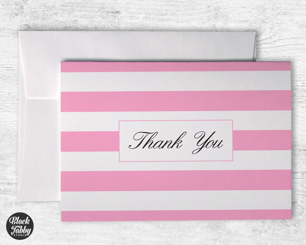 Classic Striped Pink - Thank You Cards