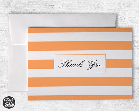 Classic Striped Orange - Thank You Cards