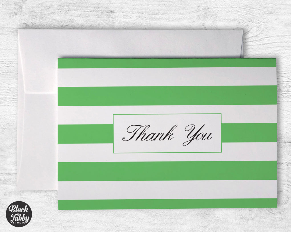 Classic Striped Green - Thank You Cards