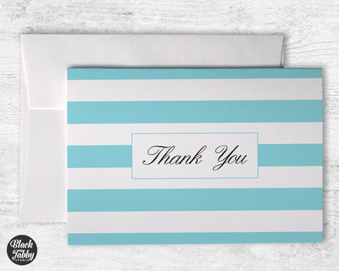 Classic Striped Light Blue - Thank You Cards