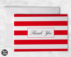 Classic Striped Red - Thank You Cards