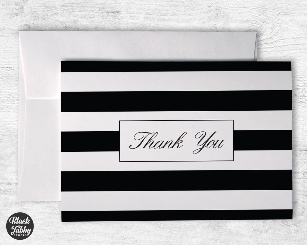 Classic Striped Black - Thank You Cards