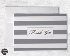 Classic Striped Grey - Thank You Cards