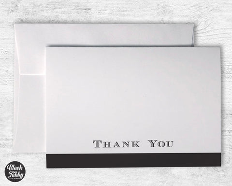 Formal Bold Striped Black - Thank You Cards