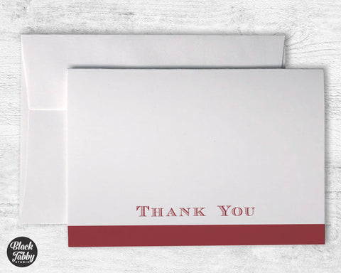 Formal Bold Striped Red - Thank You Cards