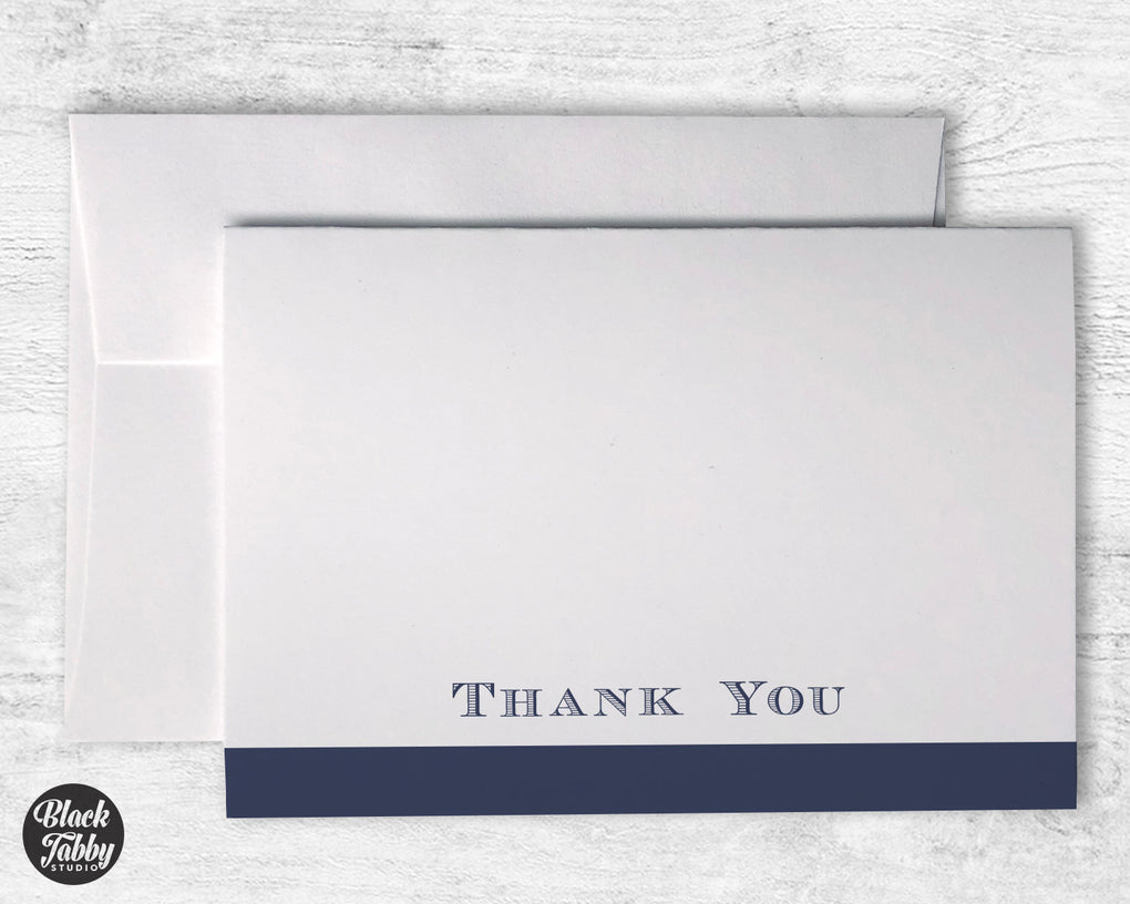 Formal Bold Striped Navy Blue - Thank You Cards