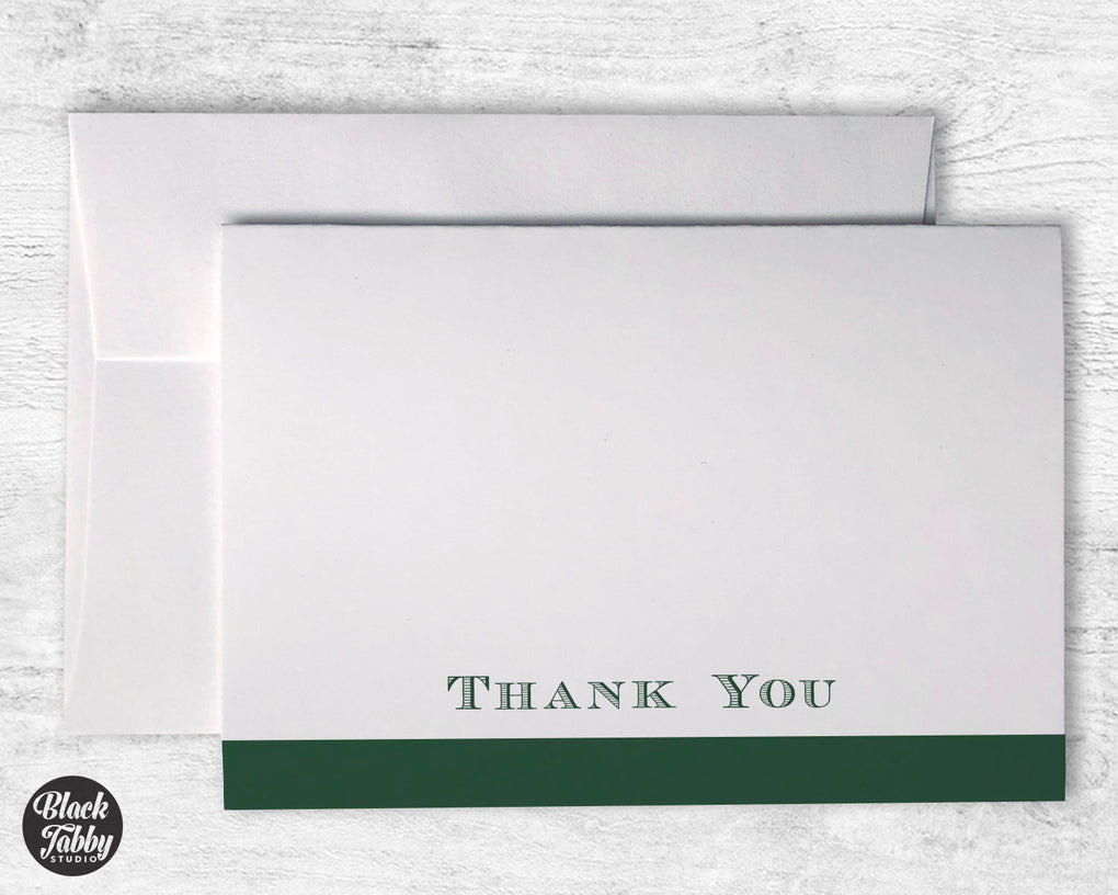 Formal Bold Striped Green - Thank You Cards