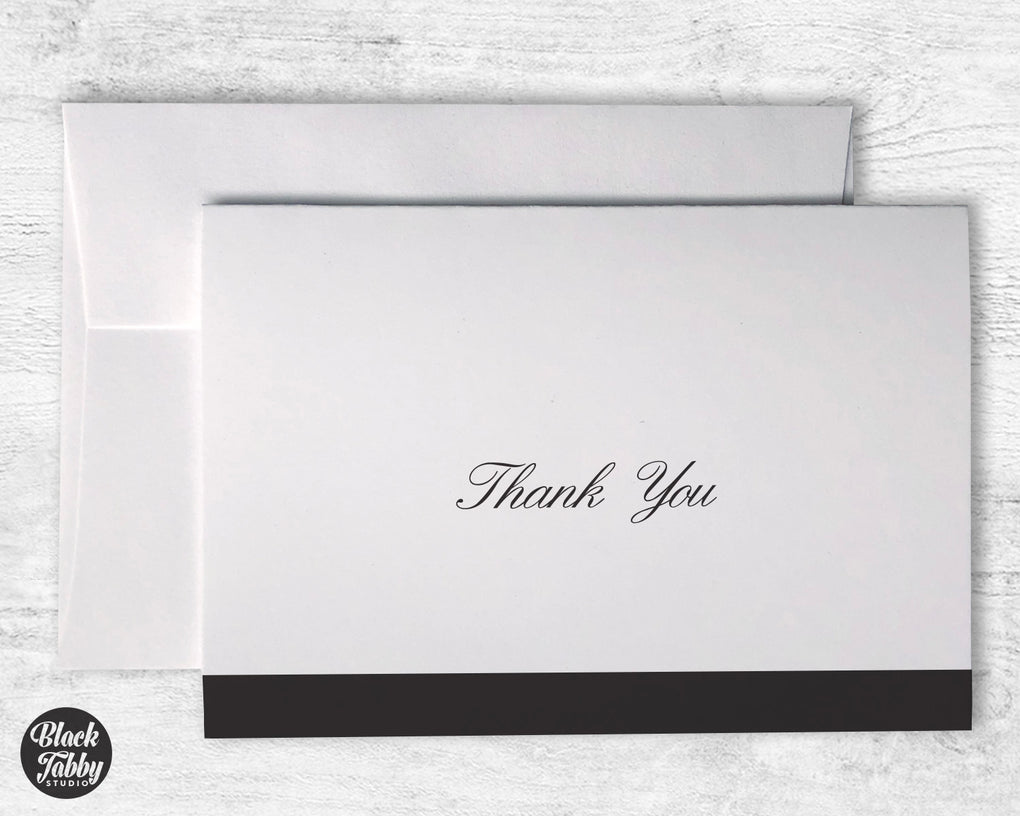 Formal Cursive Striped Black - Thank You Cards