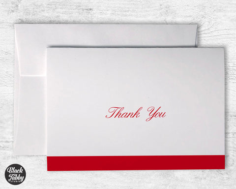 Formal Cursive Striped Red - Thank You Cards