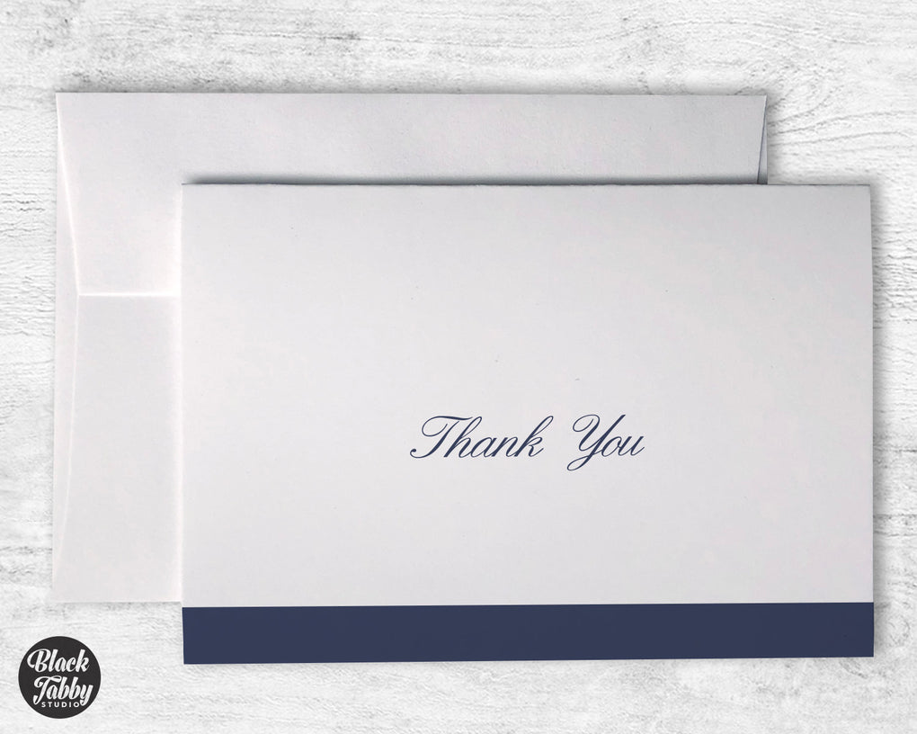 Formal Cursive Striped Navy Blue - Thank You Cards