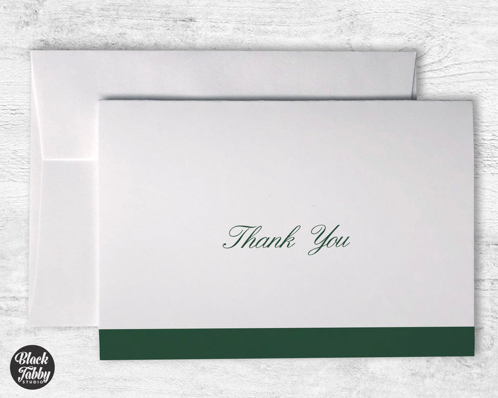 Formal Cursive Striped Green - Thank You Cards