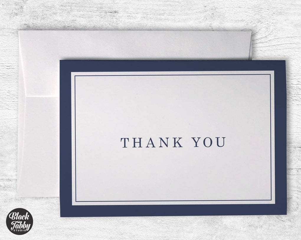 Formal Thick Border Navy Blue - Thank You Cards