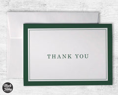 Formal Thick Border Green - Thank You Cards