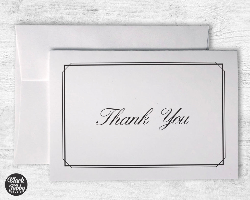 Formal Thin Border Black - Thank You Cards