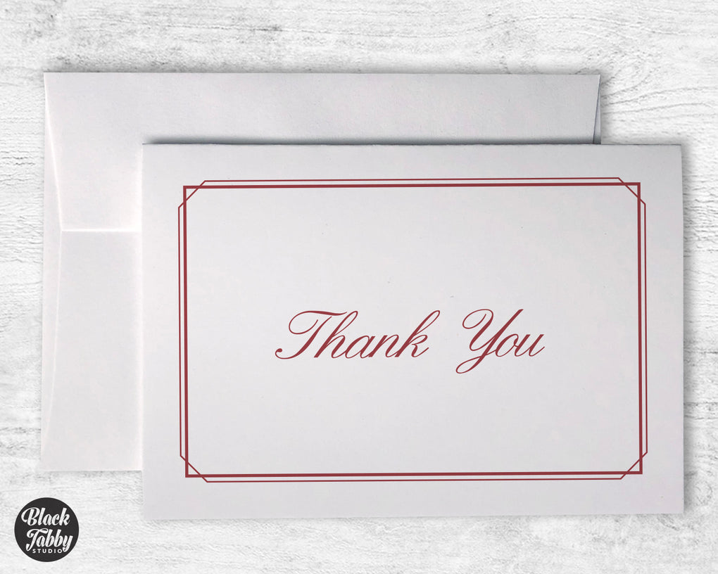 Formal Thin Border Red - Thank You Cards