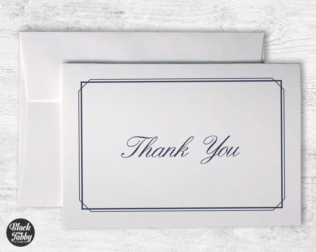 Formal Thin Border Navy Blue - Thank You Cards