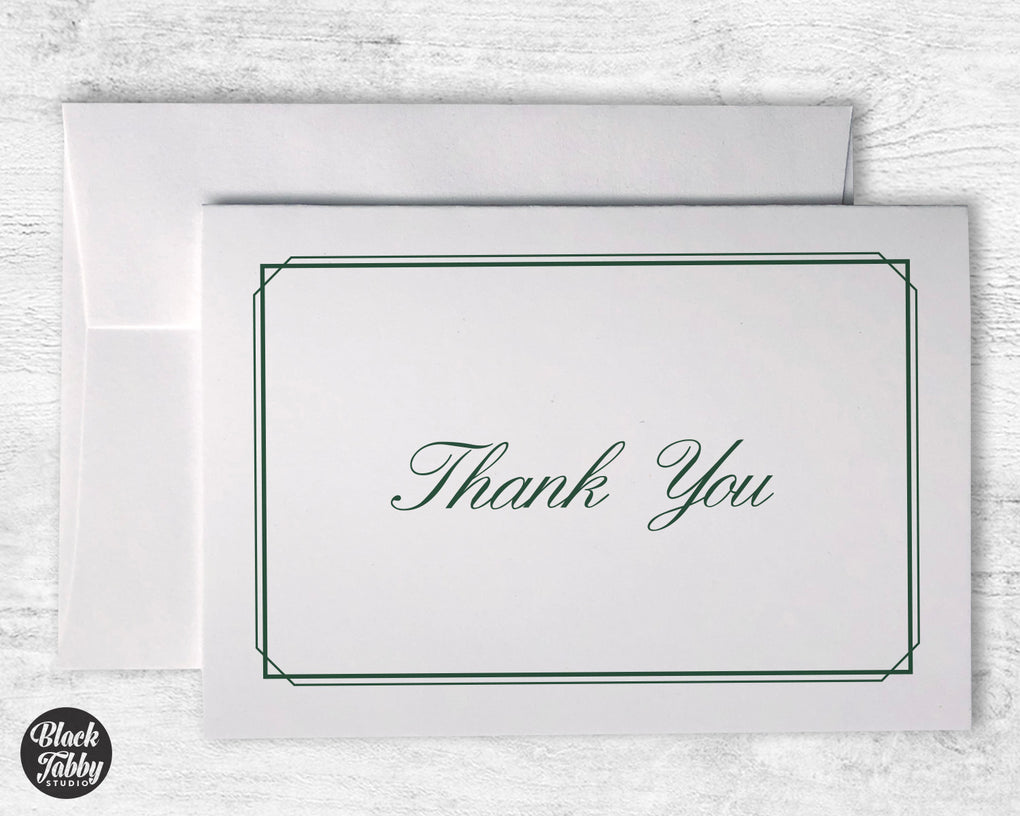 Formal Thin Border Green - Thank You Cards