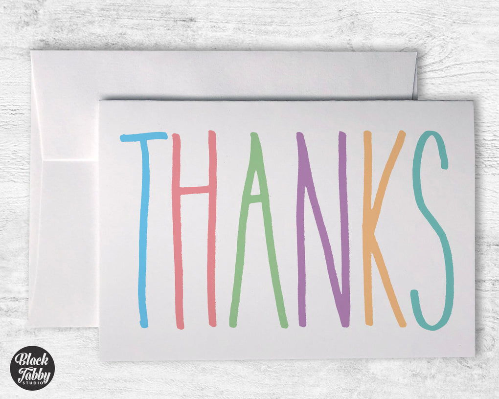 Colorful Thanks - Thank You Cards