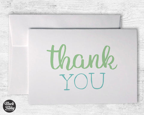 Green & Blue Thank You - Thank You Cards