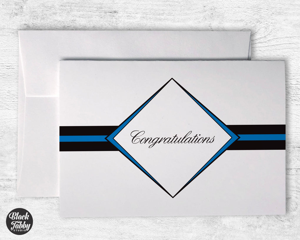 Formal Diamond Graduation Blue - Congrats Cards