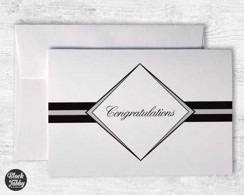 Formal Diamond Graduation Grey - Congrats Cards