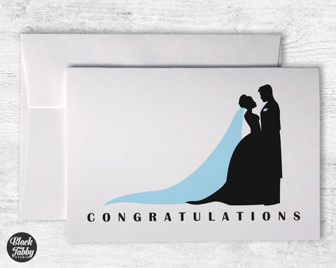 Bride & Groom Silhouette - Congrats Cards