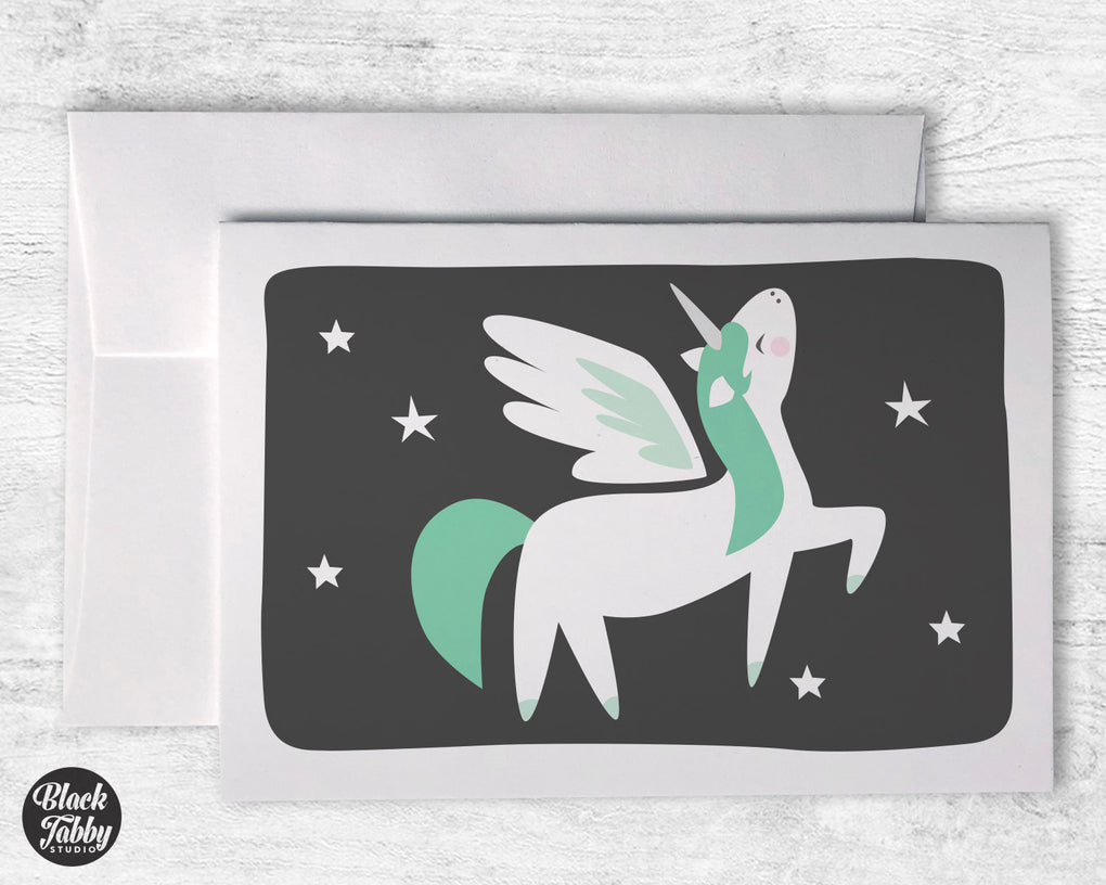 Green Alicorn - Greeting Cards