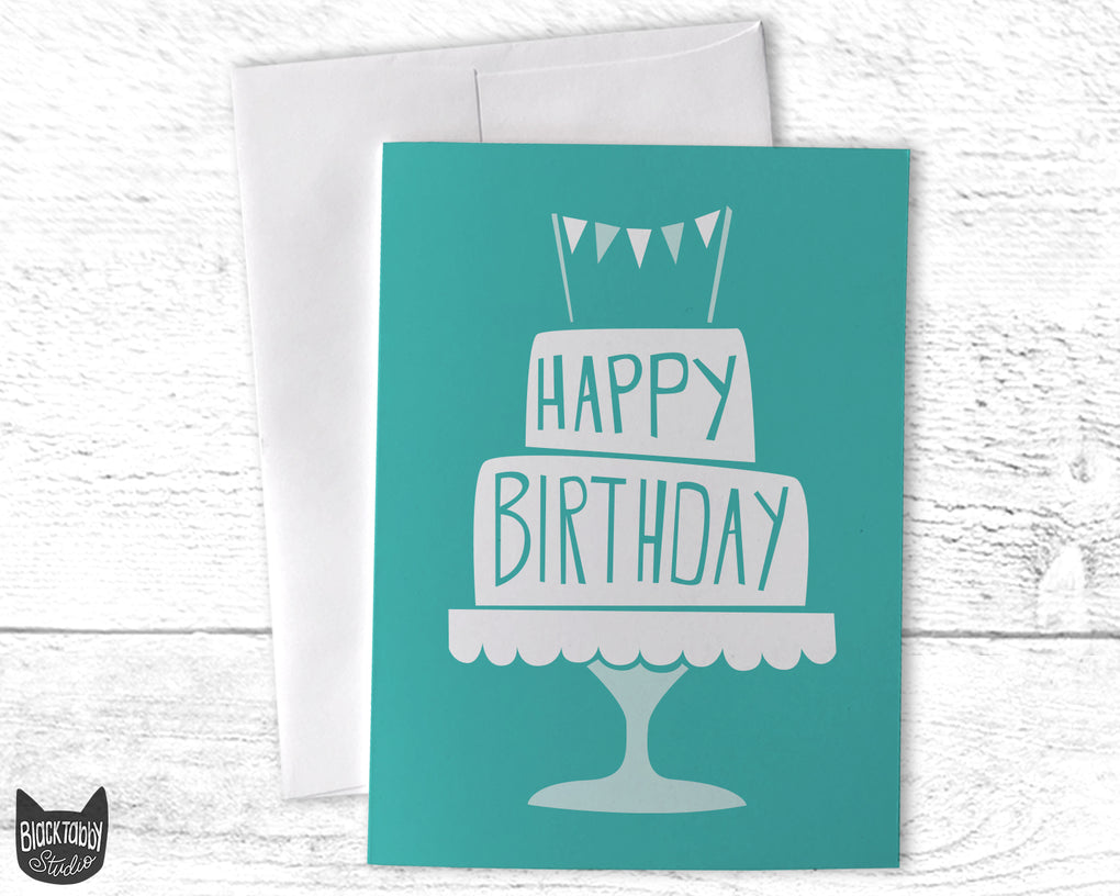 Birthday Cake in Blue - Happy Birthday Card