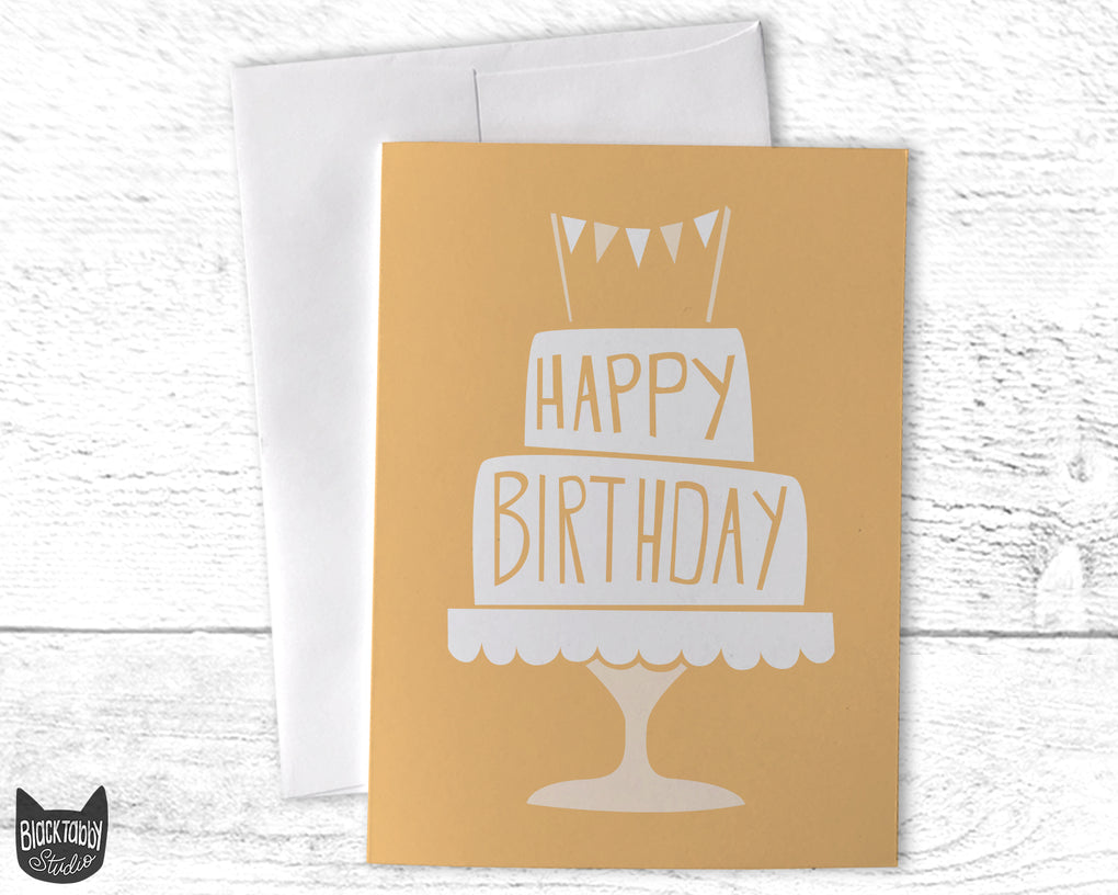 Birthday Cake in Gold - Happy Birthday Card