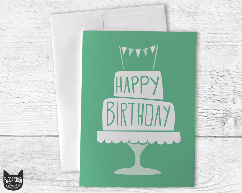 Birthday Cake in Green - Happy Birthday Card