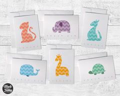 Chevron Animals Around the World - Thank You Card Collection Pack