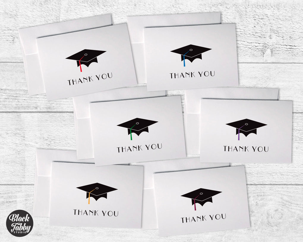 Graduation Caps with Colored Tassels - Thank You Collection Pack