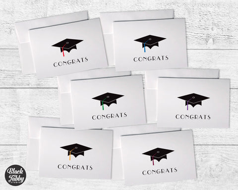 Graduation Caps with Colored Tassels - Congrats Collection Pack