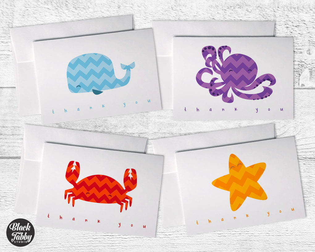 Under The Sea Chevron Animals Collection - Thank You Cards