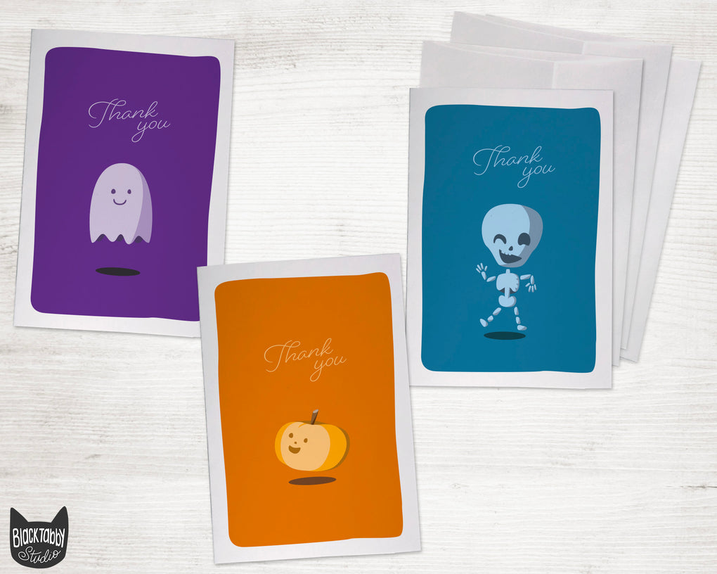 Pumpkins, Skeletons, & Ghosts, Oh My! - Thank You Card Set