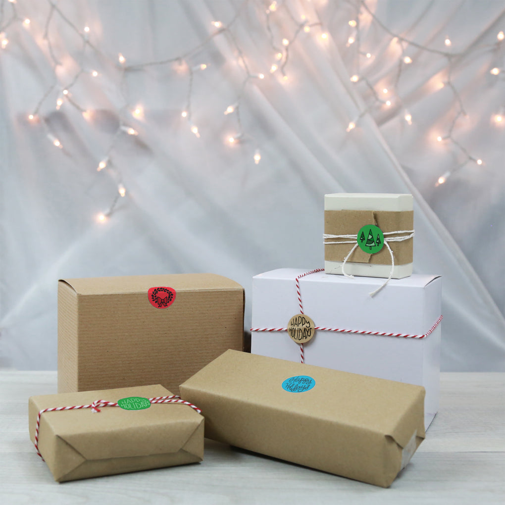 Happy Holiday Sticker Seals - Assorted Kraft Envelope Seals
